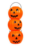 Stack of plastic jack-o-lanterns Royalty Free Stock Photos