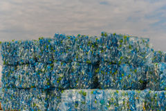 Stack of plastic PET bottles stock photography