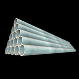 Stack of plastic pipes. 3d render on black Stock Image