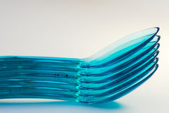 Stack of plastic spoons Stock Photography