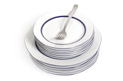 A stack of plate and fork Royalty Free Stock Photography