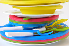 Stack of plates. The dishware. Stack of plates Royalty Free Stock Images