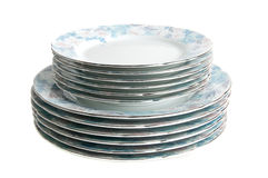 Stack of plates. A stack of coloured plates white isolated Royalty Free Stock Image