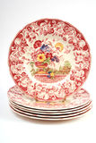 Stack of plates. A stack of antique plates with brightly colored design Royalty Free Stock Photography