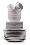 Stack of plates. Stack of white plates and dishes Royalty Free Stock Photos