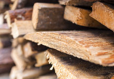 Stack of Plenty Fir Wood Boards Placed Bulk Outdoors. Royalty Free Stock Photo