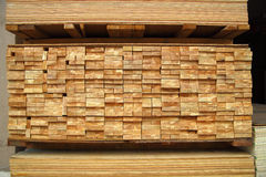 Stack of plywood and wood boards Stock Image