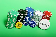 Stack of poker chips. And Texas holdem buttons stock images