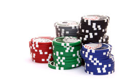 Stack of poker chips Stock Photos
