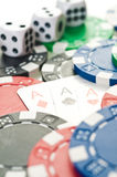 Stack of poker chips. Stack of poker color chips royalty free stock photo