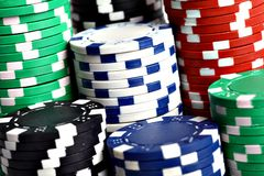 Stack of poker chips Stock Photo
