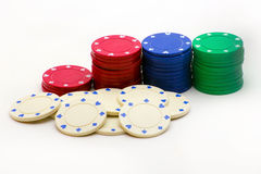 Stack of poker chips. Image of a stack of poker chips on white background Stock Image