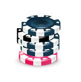 Stack of poker chips isolated on white Royalty Free Stock Images