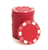 Stack of poker chips. On white with clipping path Royalty Free Stock Images
