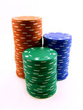 A stack of pokerchips. Three colours: blue, green and red Stock Photos