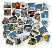 Stack of polaroid shots with european landmarks Royalty Free Stock Image