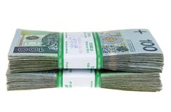 Stack of polish zloty Royalty Free Stock Photography