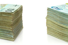 Stack of polish zloty Royalty Free Stock Photo