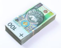 Stack of polish Zloty bills on white Stock Photography