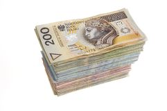 Stack of polish zlotys Stock Photo