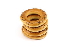 Stack of poppy bagels Stock Photo