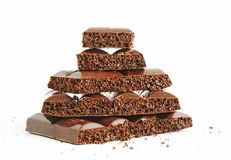 Stack of porous chocolate Stock Image
