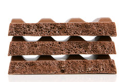 Stack of porous chocolate pieces Stock Image