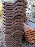 Stack of Portuguese roof tiles. In open countryside Stock Photography