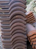 Stack of Portuguese roof tiles. In open countryside Royalty Free Stock Photos