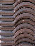 Stack of Portuguese roof tiles. In open countryside Stock Photos
