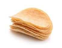 Stack of potato chips Stock Photo