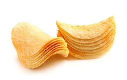 Stack of potato chips. Stock Photo