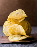Stack of potato chips. Royalty Free Stock Images