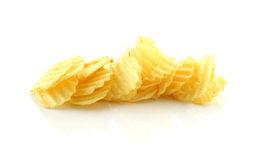 Stack of potato chips on a white background Stock Photo