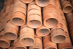 Stack of pots, vase, jar for orchid plant Royalty Free Stock Images