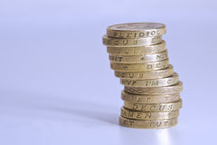 Stack of Pound Coins Stock Photo