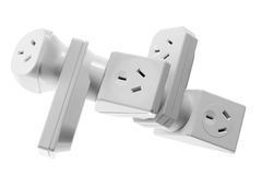 Stack of Power Adaptors Royalty Free Stock Photos