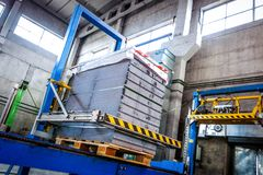 Stack of precast concrete slabs in a house-building factory royalty free stock photos