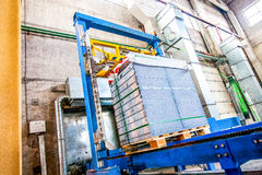 Stack of precast concrete slabs in a house-building factory Stock Photos