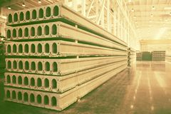Stack of precast reinforced concrete slabs in factory workshop stock photos