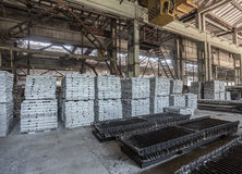 Stack of precast reinforced concrete slabs in a house-building factory workshop Stock Image