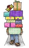 Stack of presents. Man walking on a sidewalk carrying a stack of wrapped presents Stock Images