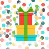 A stack of presents and confetti. Vector card. Stock Image