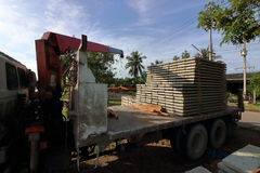 Stack of prestressed concrete slabs loaded on truck for construction Royalty Free Stock Photos