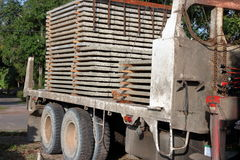 Stack of prestressed concrete slabs loaded on truck for construction, Side view Royalty Free Stock Photography