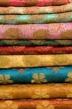 Stack of printed Indian silk  Stock Images