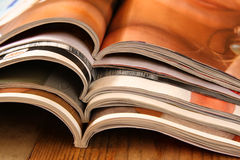 Stack of printed magazines Royalty Free Stock Photos