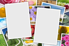 Stack of printed pictures collage Stock Photography