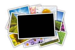 Stack of printed pictures collage Royalty Free Stock Image
