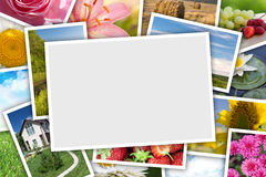 Stack of printed pictures collage Royalty Free Stock Photography